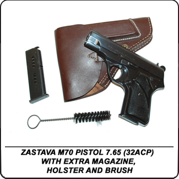 ZASTAVA M70 PISTOL 7.65 (32ACP) WITH EXTRA MAGAZINE HOLSTER AND BRUSH
